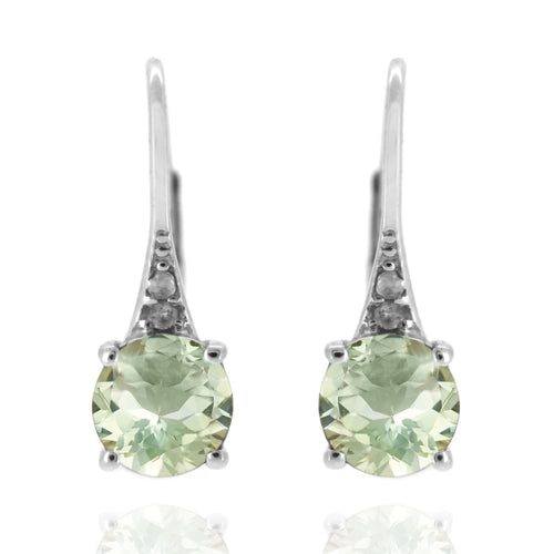 925 Sterling Silver With 6mm Round Green Amethyst, Diamond Dangle Earring