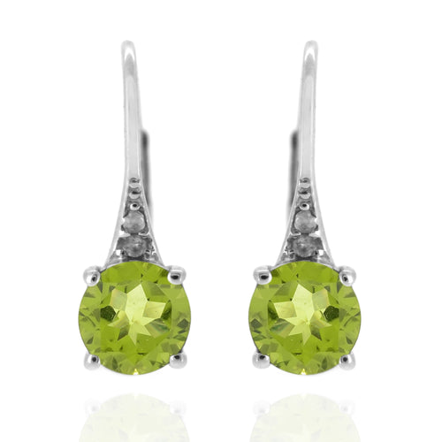 925 Sterling Silver With 6mm Round Peridot, Diamond Dangle Earring