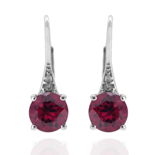 925 Sterling Silver With 6mm Round Rhodolite, Diamond Dangle Earring