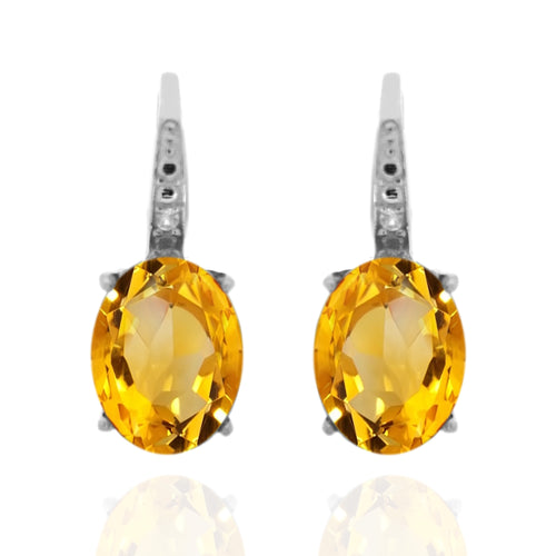 925 Sterling Silver With 9x7 Oval Citrine, Diamond Dangle Earring
