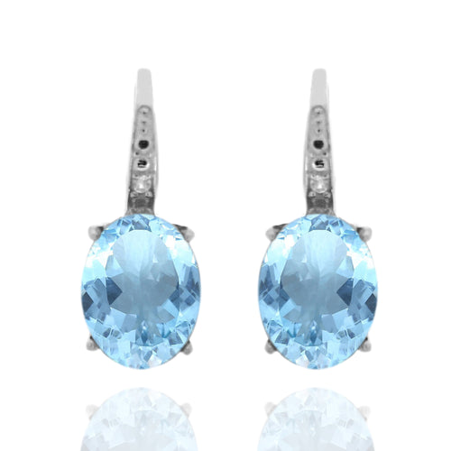 925 Sterling Silver With 9x7 Oval Sky Blue Topaz, Diamond Dangle Earring