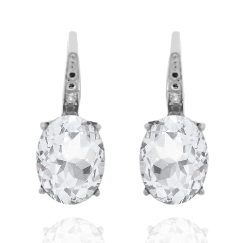 925 Sterling Silver With 9x7 Oval White Topaz, Diamond Dangle Earring
