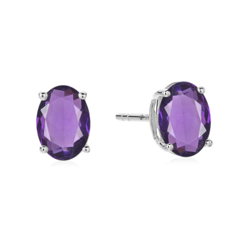 Sterling Silver 8x6 Oval Genuine Gemstone Birthstone Stud Earrings