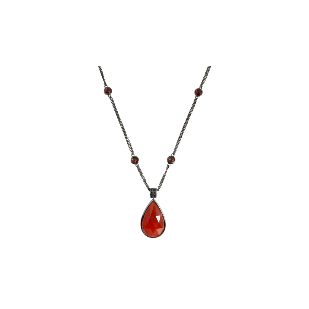 Pinctore Black Rhodium o/Silver 26.38ctw Red Agate Necklace 36'L - pinctore