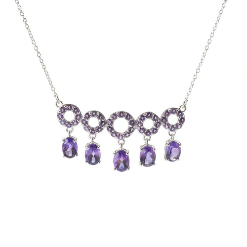 "Sterling Silver African Amethyst Circle Bar Chain Necklace, 17"" + 3"" Extender - pinctore"