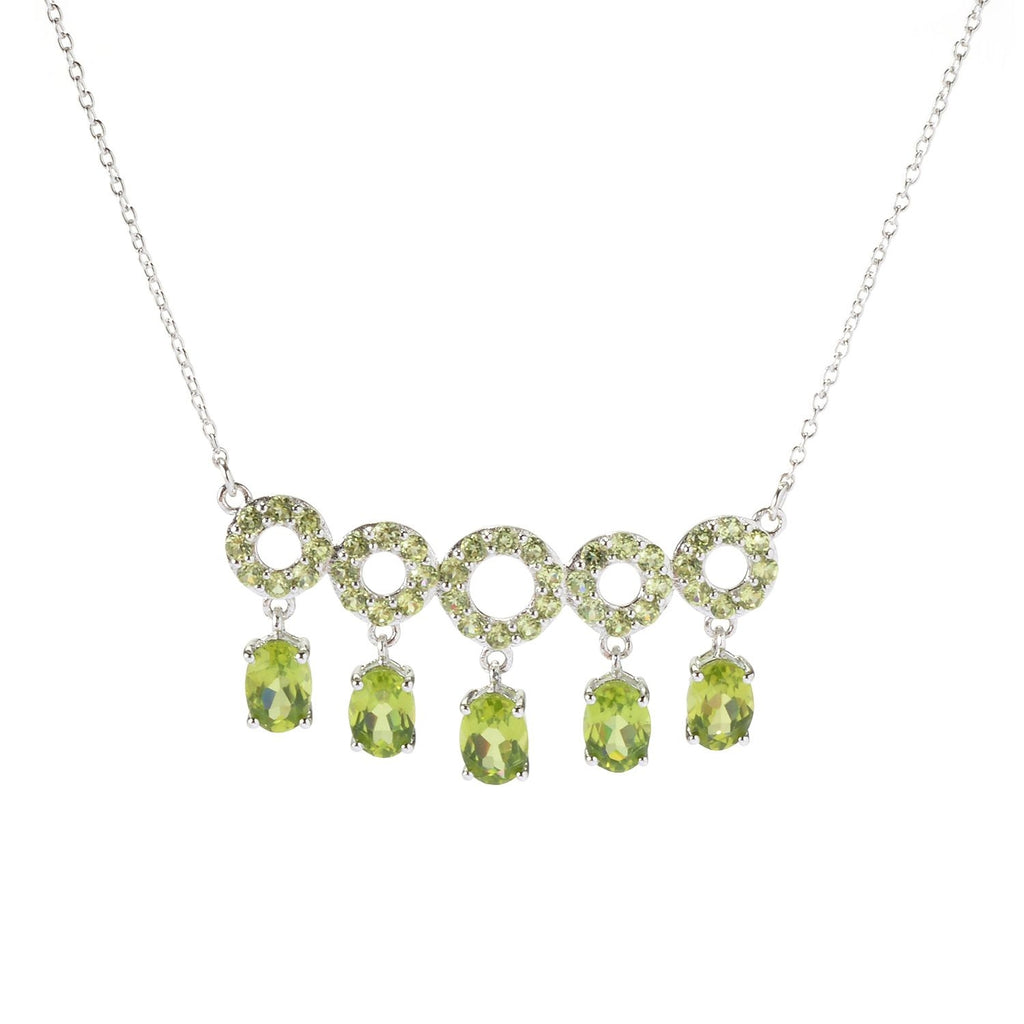 Pinctore Sterling Silver 5.9ctw Peridot Gem Circle Bar Necklace 17'L w/ 3' Extender