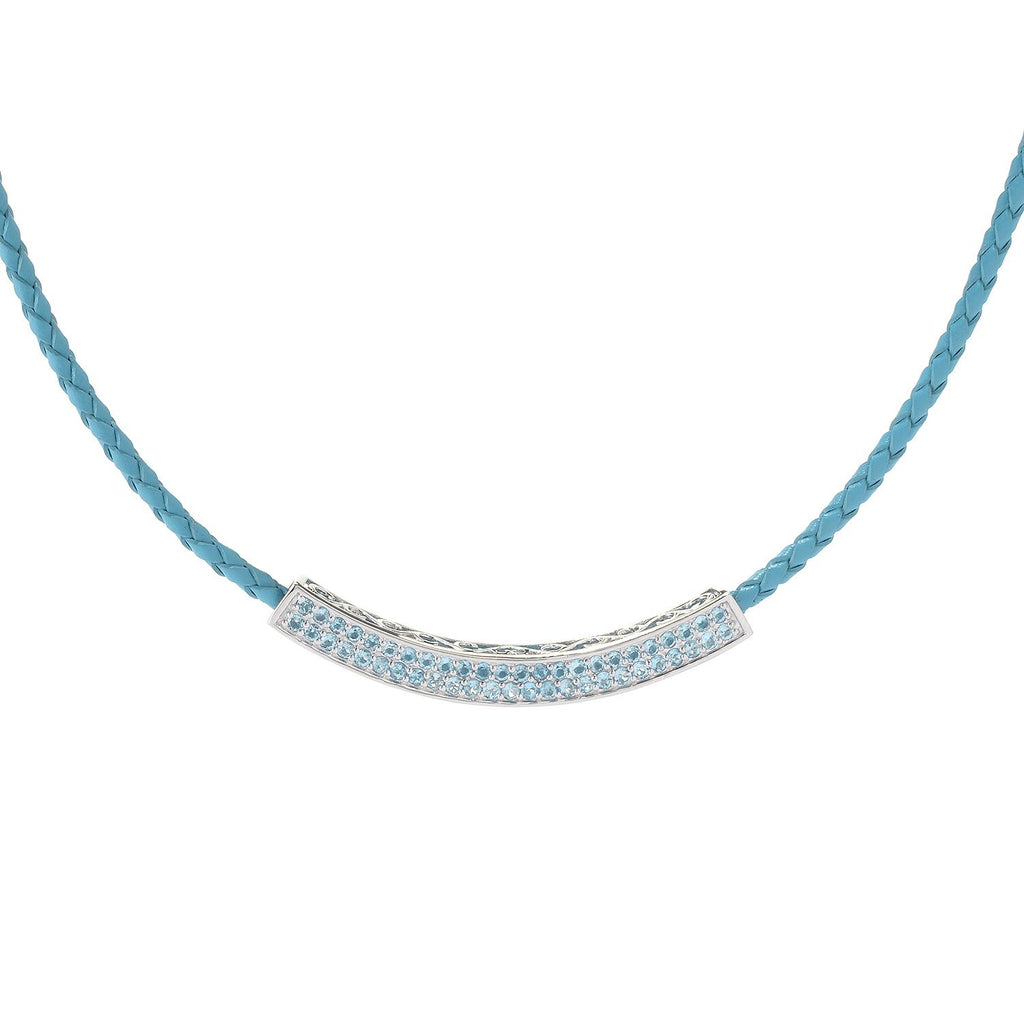 Pinctore Sterling Silver 1.81ctw Swiss Blue Topaz Necklace 18'L - pinctore