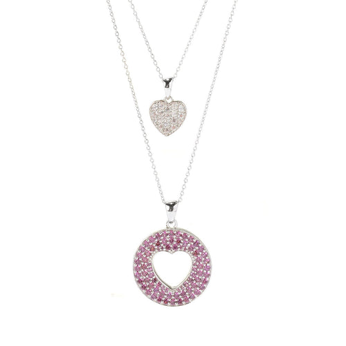 Pinctore Sterling Silver 2.8ctw Rhodolite & White Zircon Diamond Cut Heart 18' Necklace - pinctore