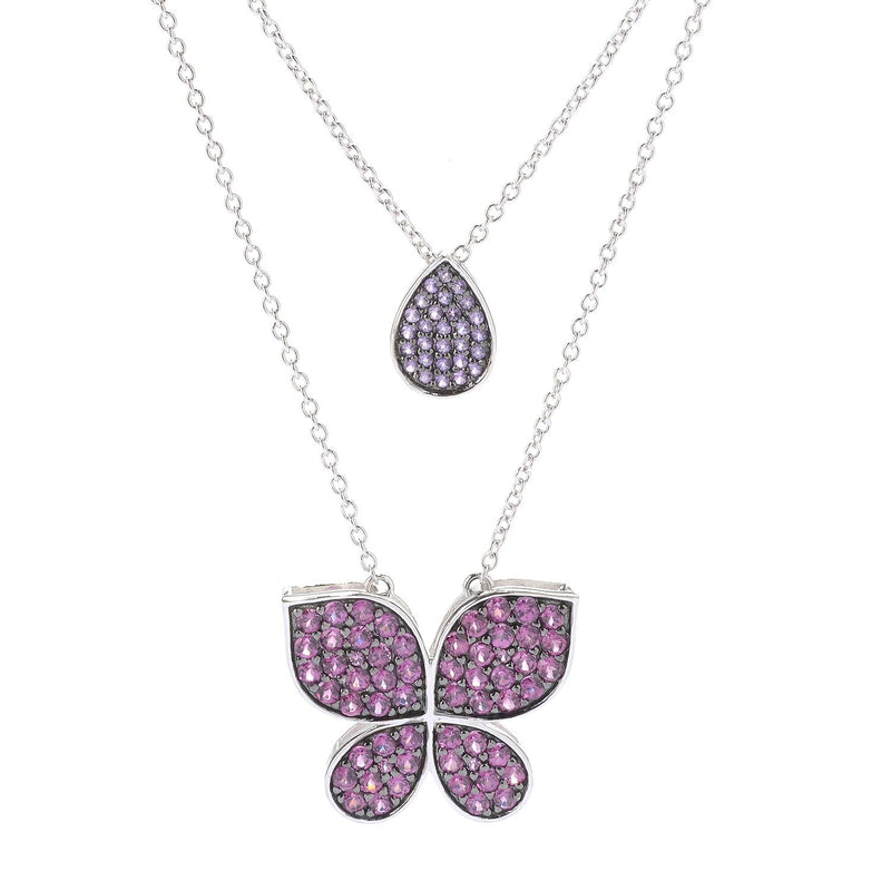 Pinctore Sterling Silver 18' Gemstone 'Butterfly Kisses' Necklace - pinctore