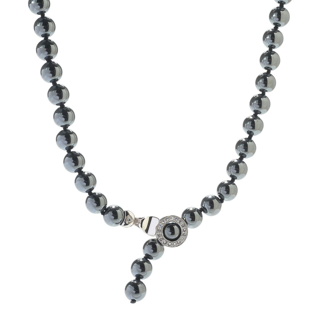 Pinctore Sterling Silver 71.33ctw Hematite & White Topaz Adjustable Beaded Necklace - pinctore