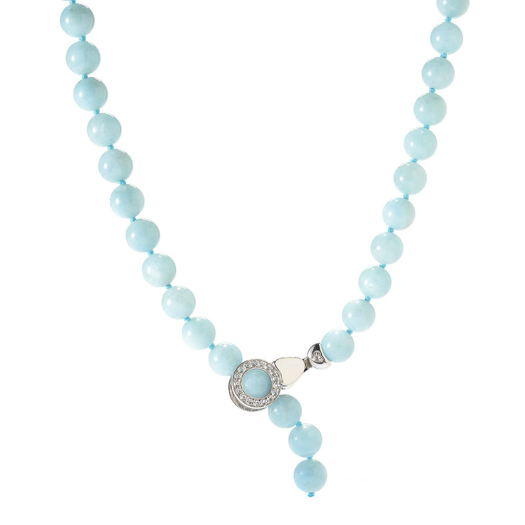 Pinctore Sterling Silver 148ctw Milky Aquamarine & White Topaz Beaded Adjustable Necklace - pinctore
