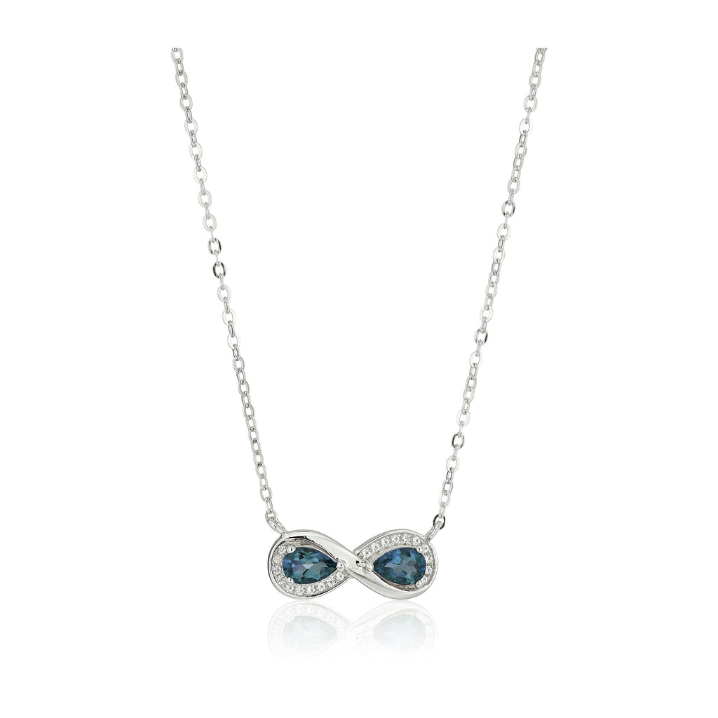 "Sterling Silver London Blue Topaz Infinity Pendant Necklace, 18"" - pinctore"