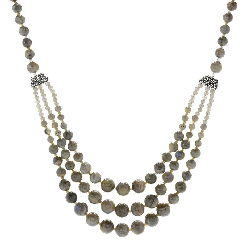 "Pinctore Sterling Silver 29"" Labradorite Beaded 3-Strand Necklace - pinctore"
