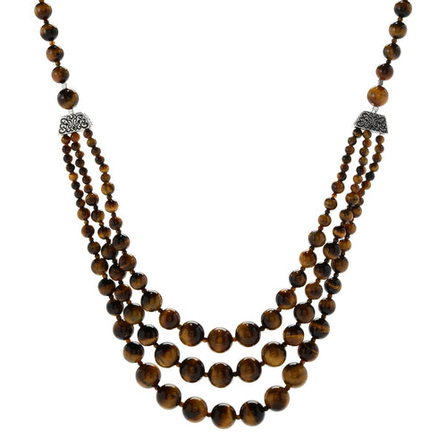 "Pinctore Sterling Silver 29"" tiger's eye Beaded 3-Strand Necklace - pinctore"