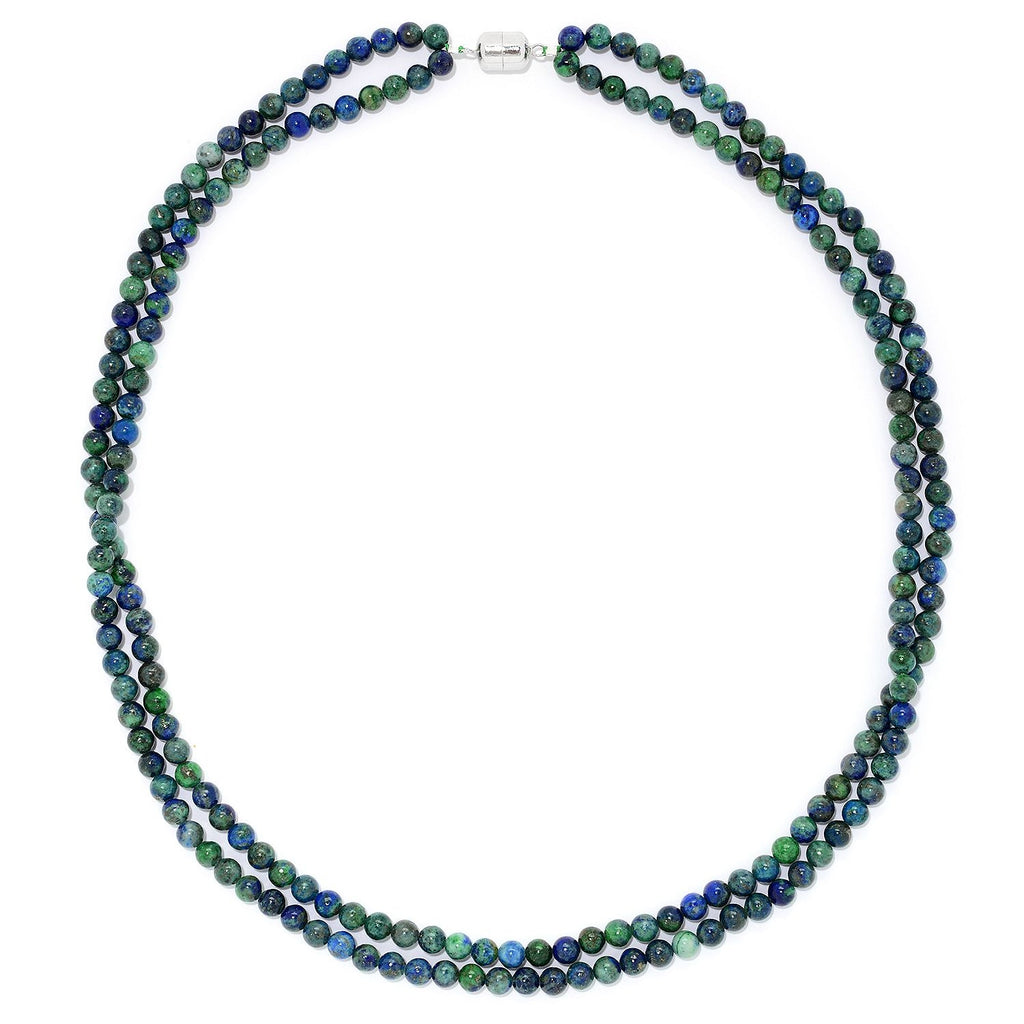 "Pinctore Sterling Silver 24"" Chrysocolla Bead Necklace w/Magnetic Clasp"