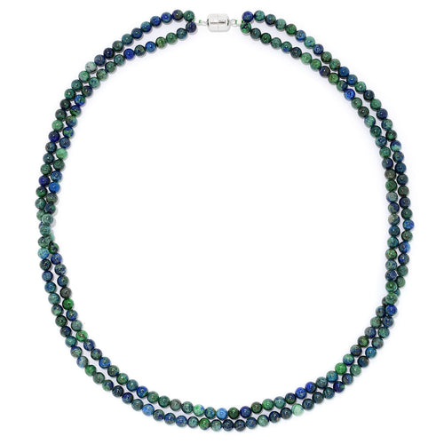 "Pinctore Sterling Silver 24"" Chrysocolla Bead Necklace w/Magnetic Clasp - pinctore"