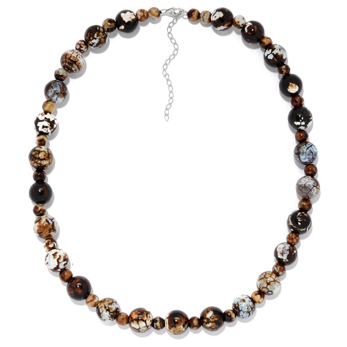 "Pinctore Sterling Silver 20"" Leopard Agate Beaded Necklace w/ 3"" Extender - pinctore"