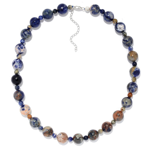 "Pinctore Sterling Silver 20"" Sodalite Beaded Necklace w/ 3"" Extender - pinctore"