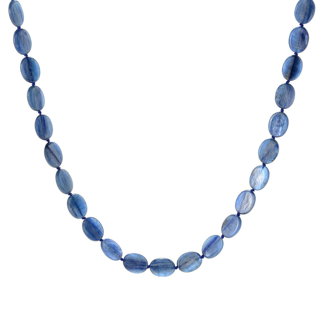"Pinctore Sterling Silver 36"" 20 x 15mm Oval Kyanite Beaded Necklace - pinctore"