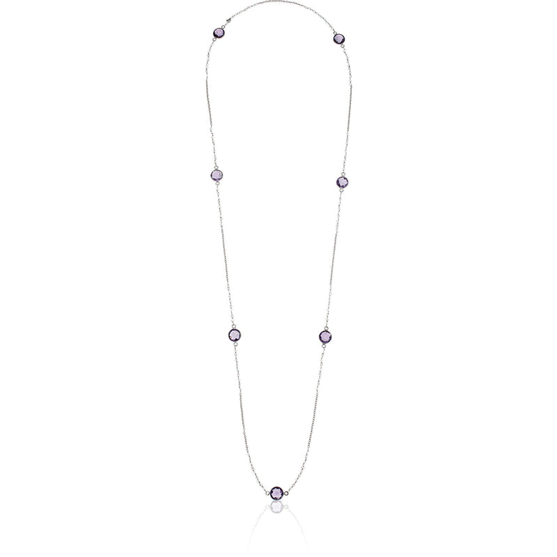 "Pinctore Sterling Silver 36"" 10mm African Amethyst & Rainbow Moonstone Station Necklace - pinctore"