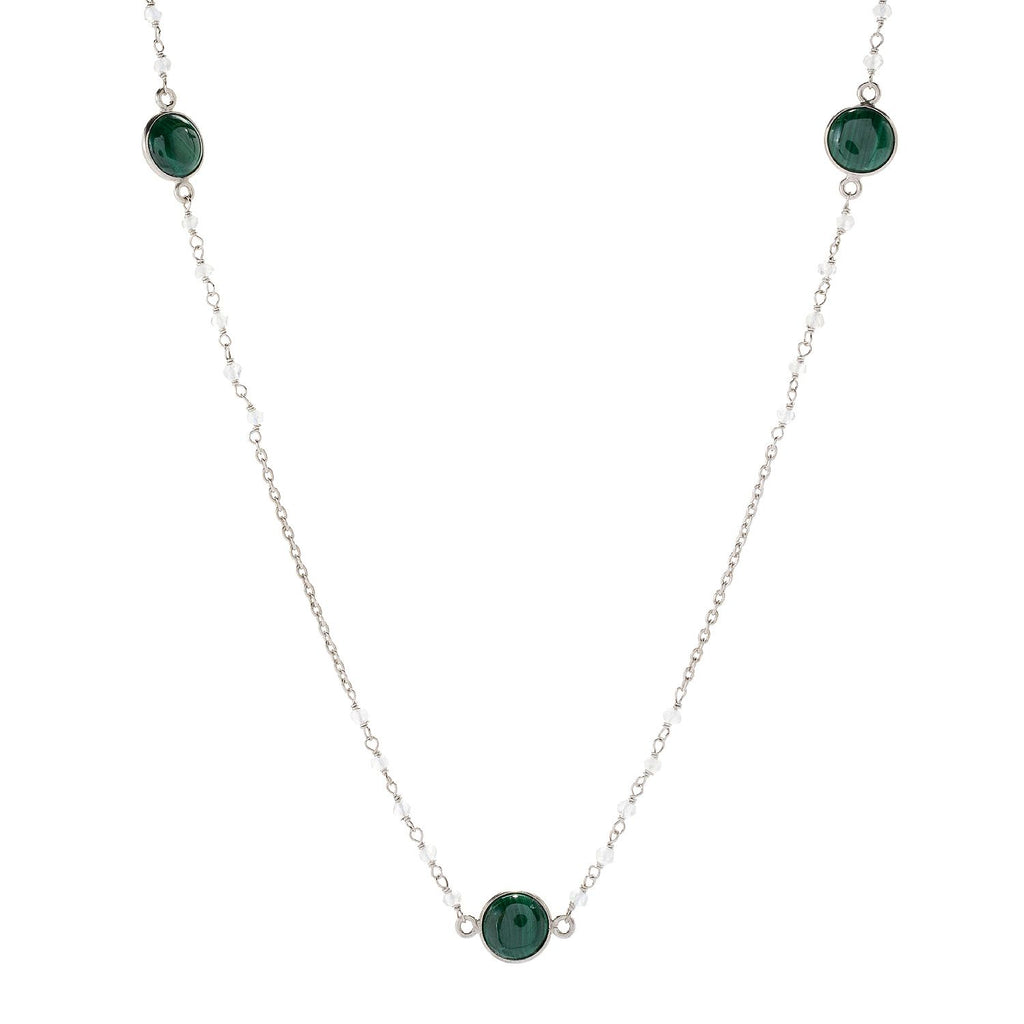"Pinctore Sterling Silver 36"" 10mm Malachite & Rainbow Moonstone Station Necklace - pinctore"