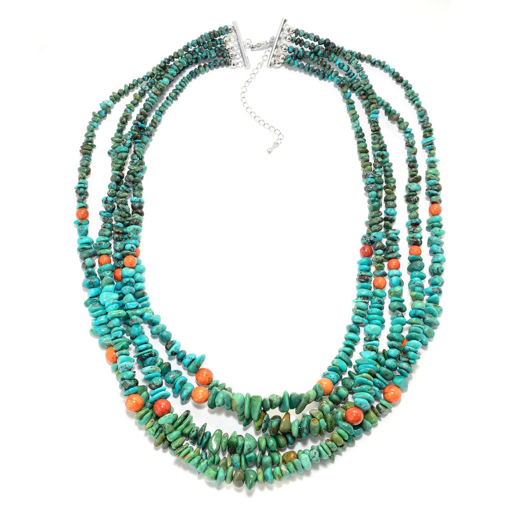"Pinctore Sterling Silver 20"" Bamboo Coral & Hubei Turquoise 5-Strand Necklace - pinctore"