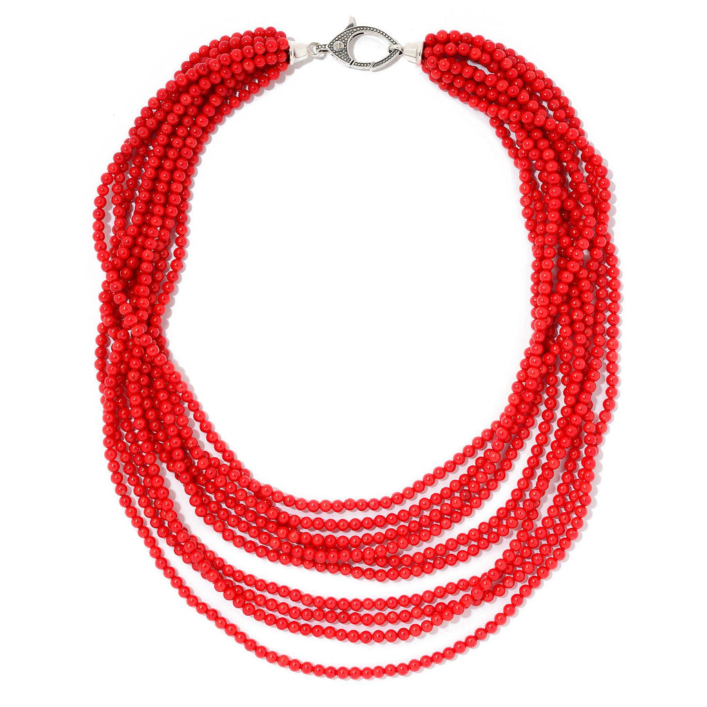 Pinctore Red Coral Multi Strand Beaded Necklace w/Designer Clasp - pinctore