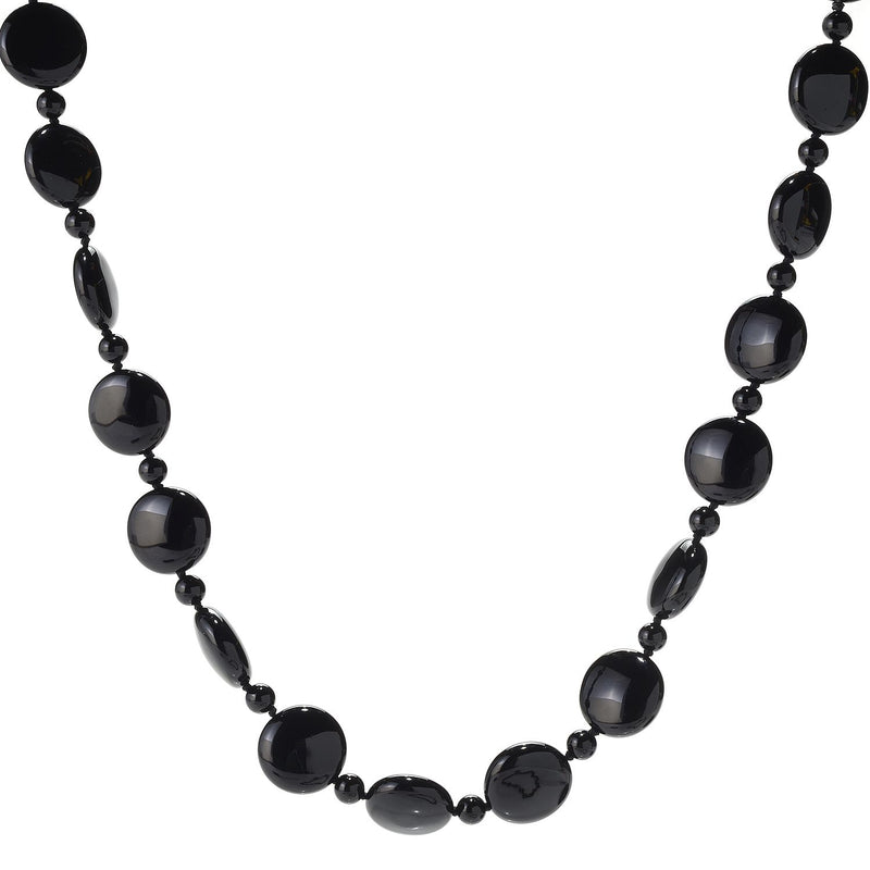 "Pinctore 28"" 18mm Coin Shaped Black Onyx Beaded Endless Necklace - pinctore"