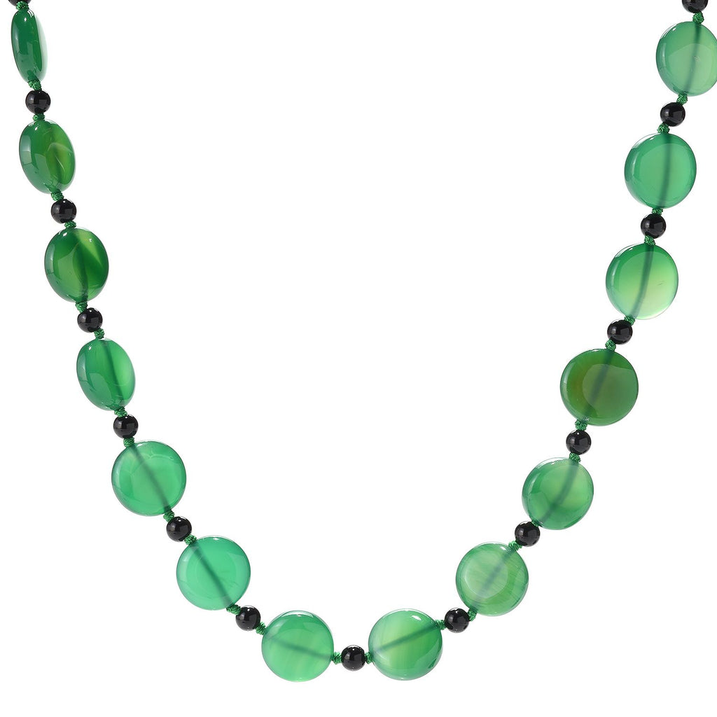 "Pinctore 28"" 18mm Coin Shaped Green Agate & Onyx Beaded Endless Necklace - pinctore"