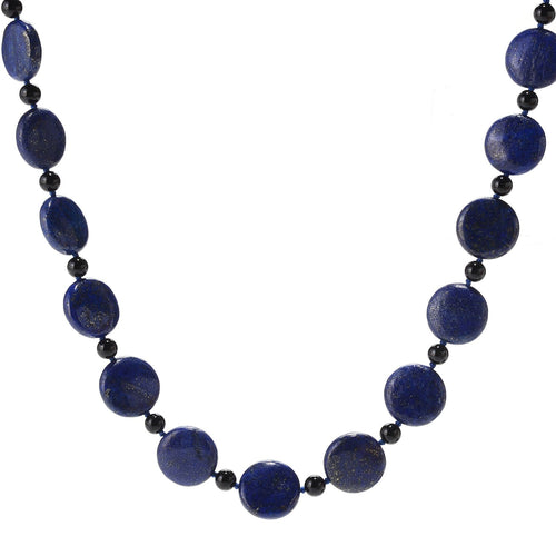 "Pinctore 28"" 18mm Coin Shaped Lapis & Onyx Beaded Endless Necklace - pinctore"