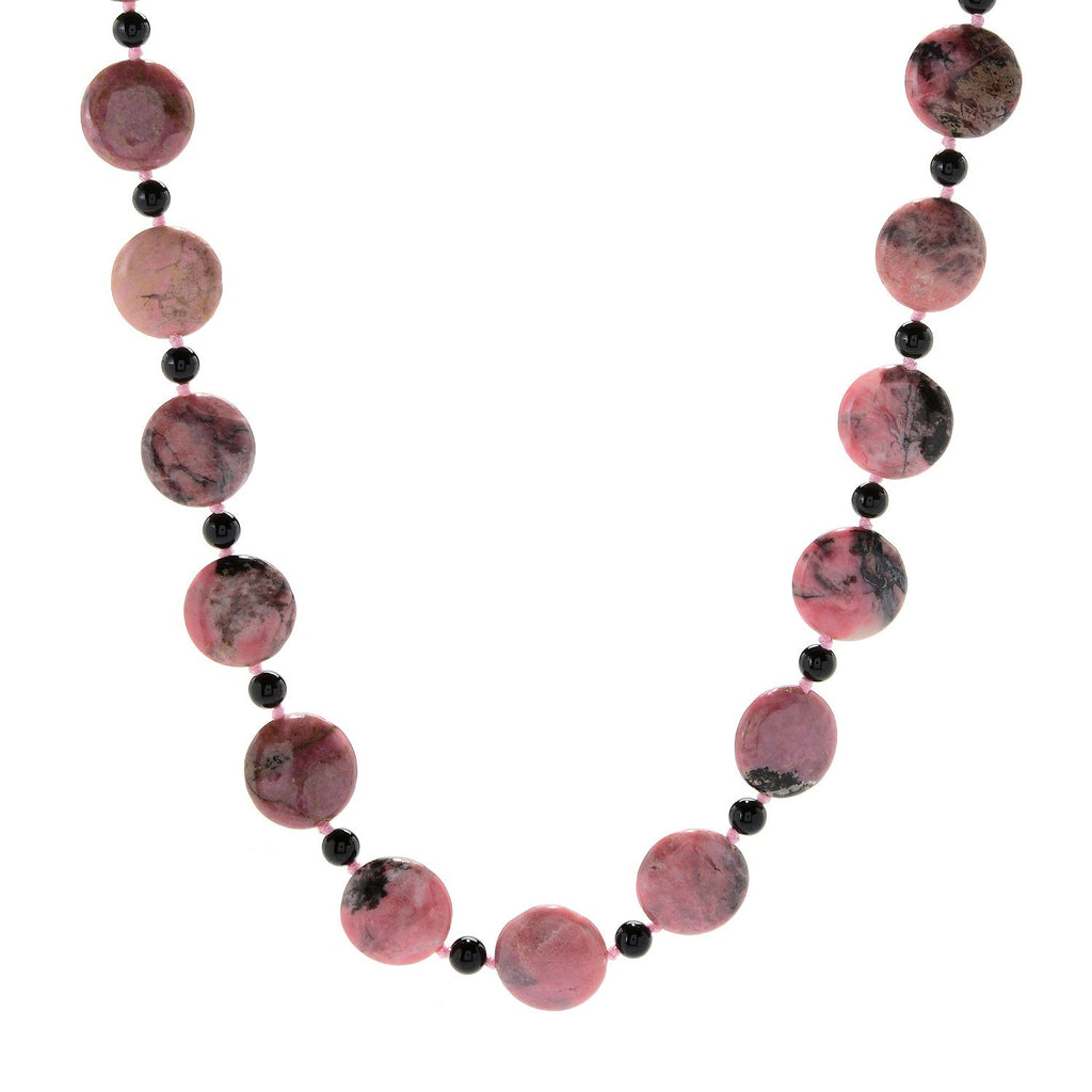 "Pinctore 28"" 18mm Coin Shaped Rhodonite & Onyx Beaded Endless Necklace - pinctore"