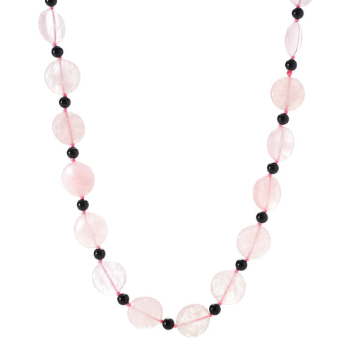 "Pinctore 28"" 18mm Coin Shaped Rose Quartz & Onyx Beaded Endless Necklace - pinctore"