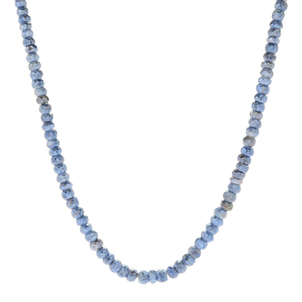 "Pinctore Sterling Silver 18"" Blue Sapphire Beaded Necklace - pinctore"