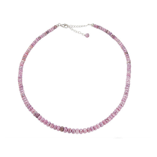 "Pinctore Sterling Silver 18"" Pink Sapphire Beaded Necklace - pinctore"