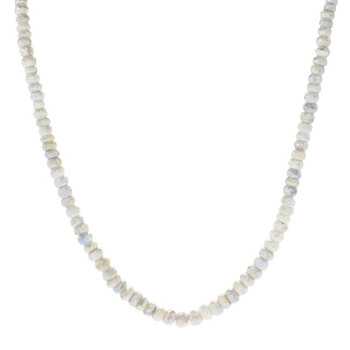 "Pinctore Sterling Silver 18"" White Sapphire Beaded Necklace - pinctore"