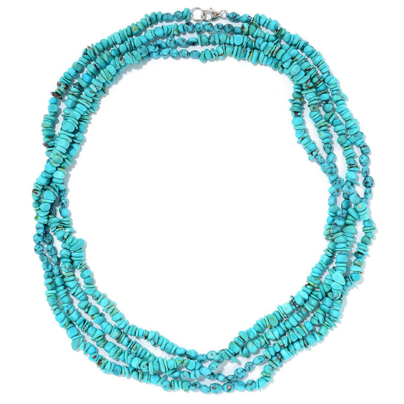 "Pinctore Sterling Silver 80"" American & Mexican Spider Web Turquoise Necklace - pinctore"