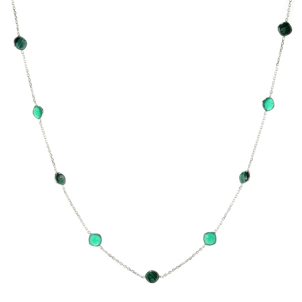 "Pinctore Sterling Silver 36"" 10mm Cushion Shaped Malachite Station Necklace"