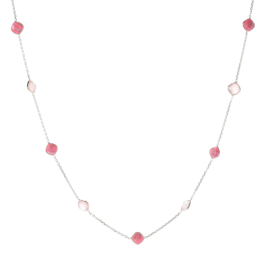 "Pinctore Sterling Silver 36"" 10mm Cushion Shaped Rhodochrosite Station Necklace"
