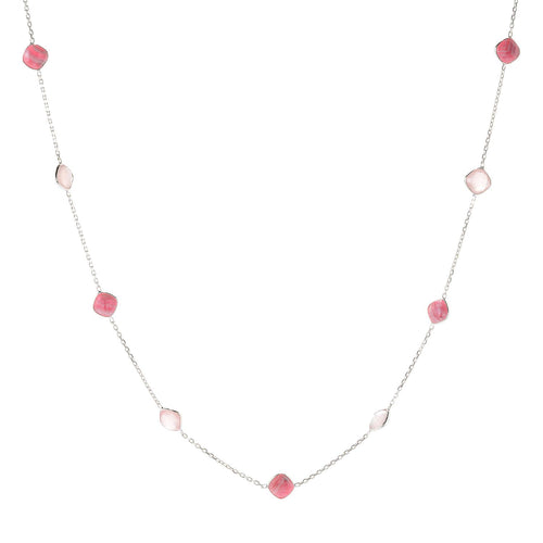"Pinctore Sterling Silver 36"" 10mm Cushion Shaped Rhodochrosite Station Necklace - pinctore"