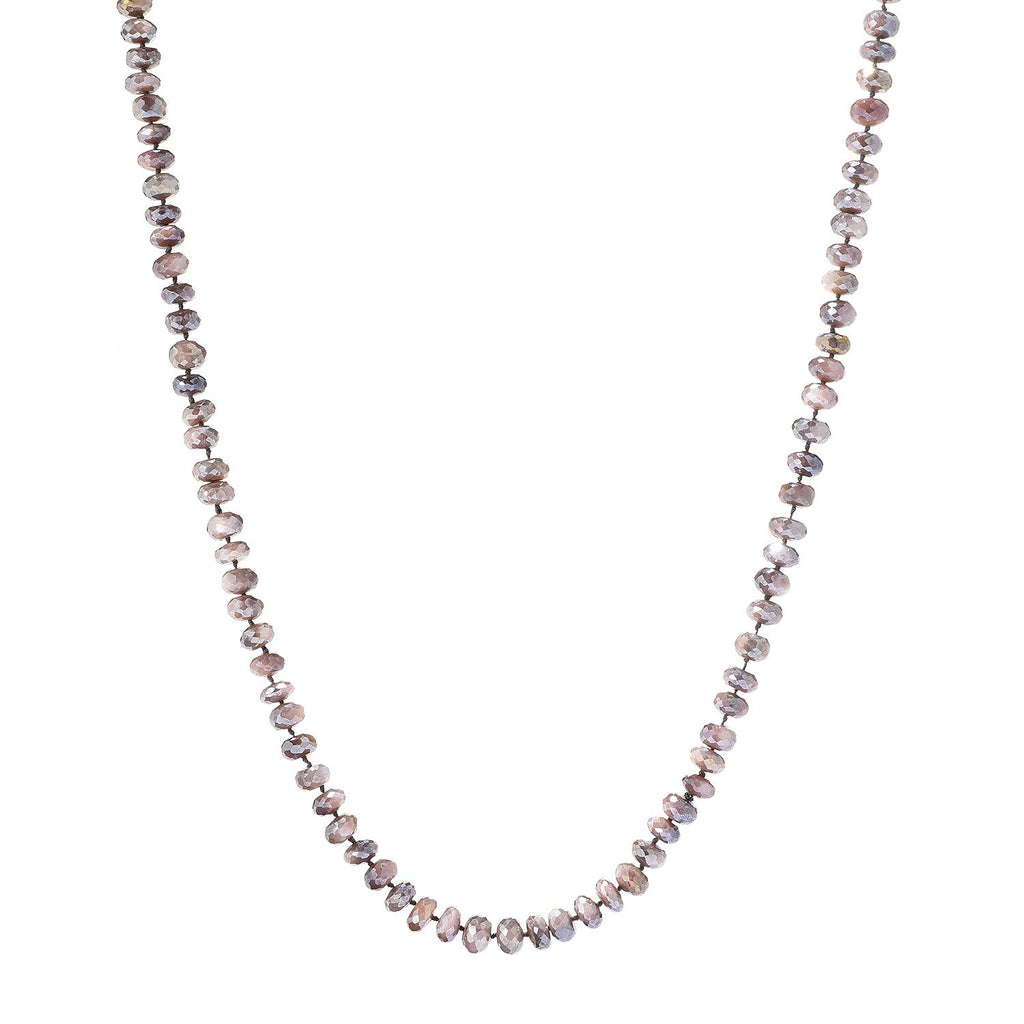 "Pinctore 35"" Mauve Moonstone Endless Beaded Necklace"