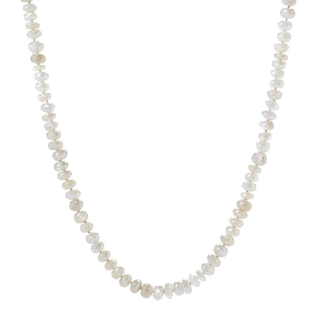 "Pinctore 35"" White Moonstone Endless Beaded Necklace"