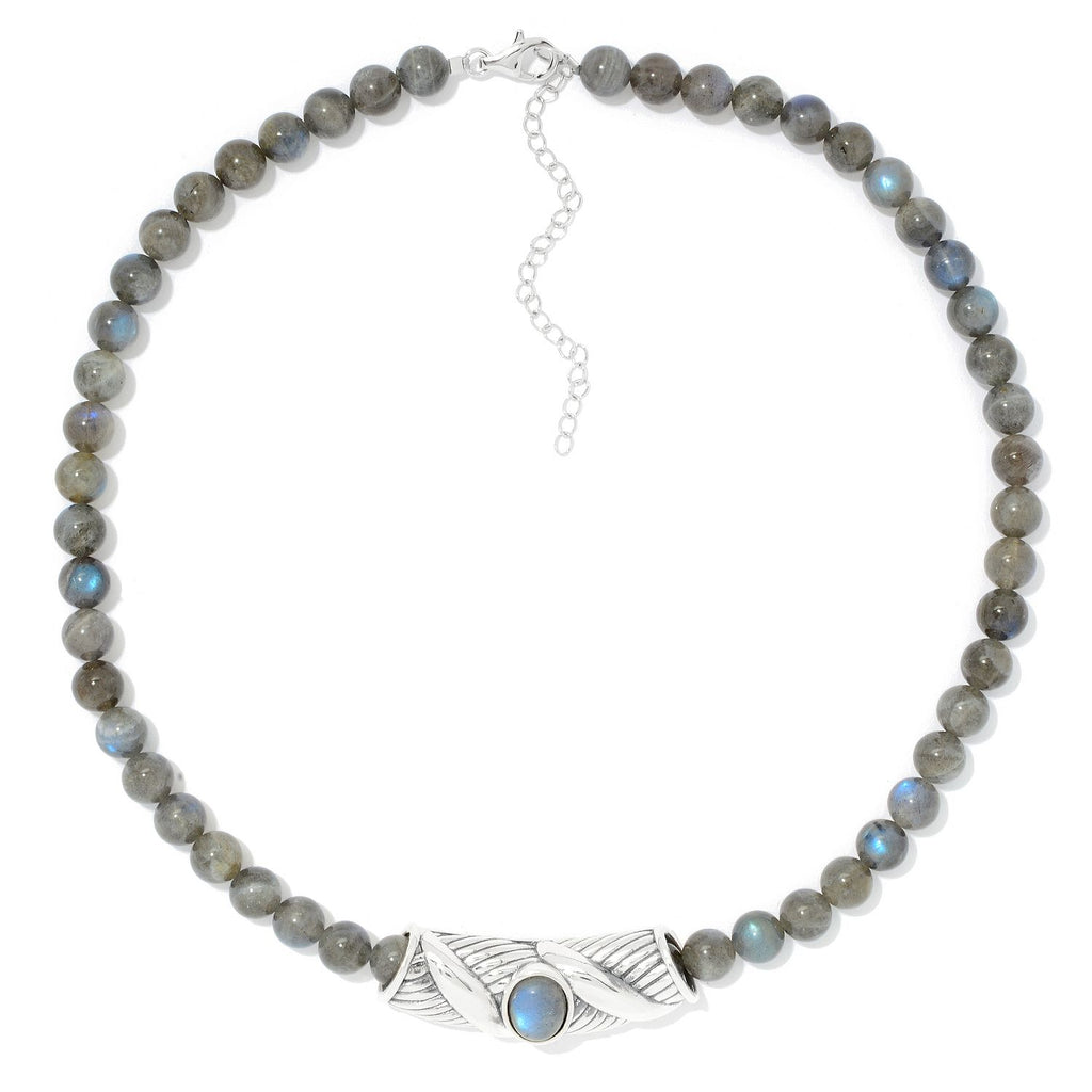 "Pinctore Sterling Silver Oval Labradorite Slide Pendant & 18"" Bead Necklace"
