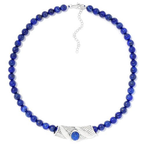 "Pinctore Sterling Silver Oval Lapis Slide Pendant & 18"" Bead Necklace - pinctore"