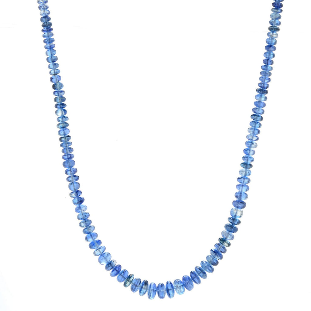 "Pinctore Sterling Silver 18"" Kyanite Graduated Beaded Necklace"