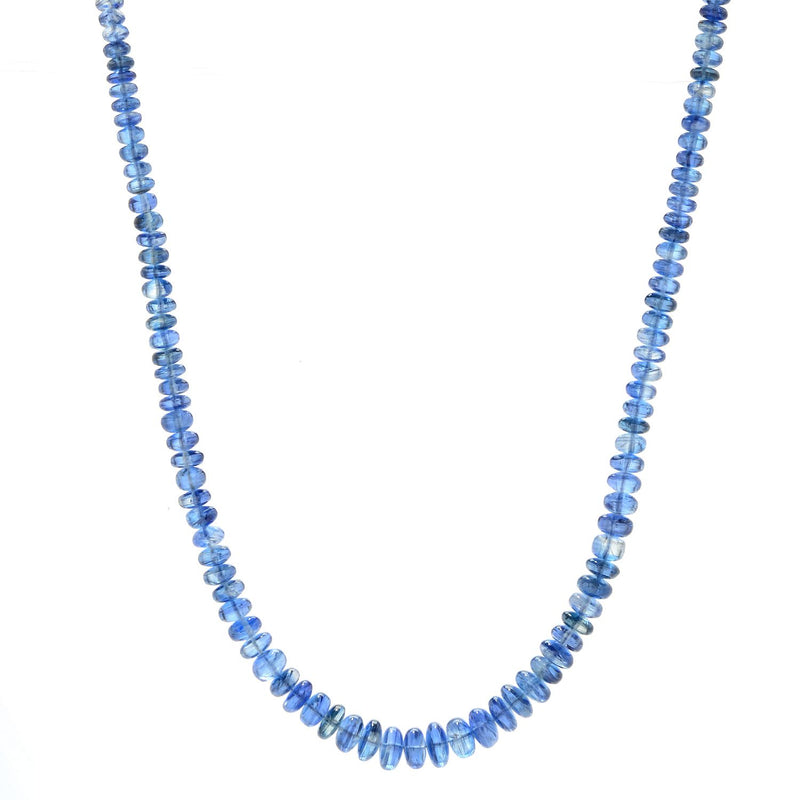 "Pinctore Sterling Silver 18"" Kyanite Graduated Beaded Necklace - pinctore"