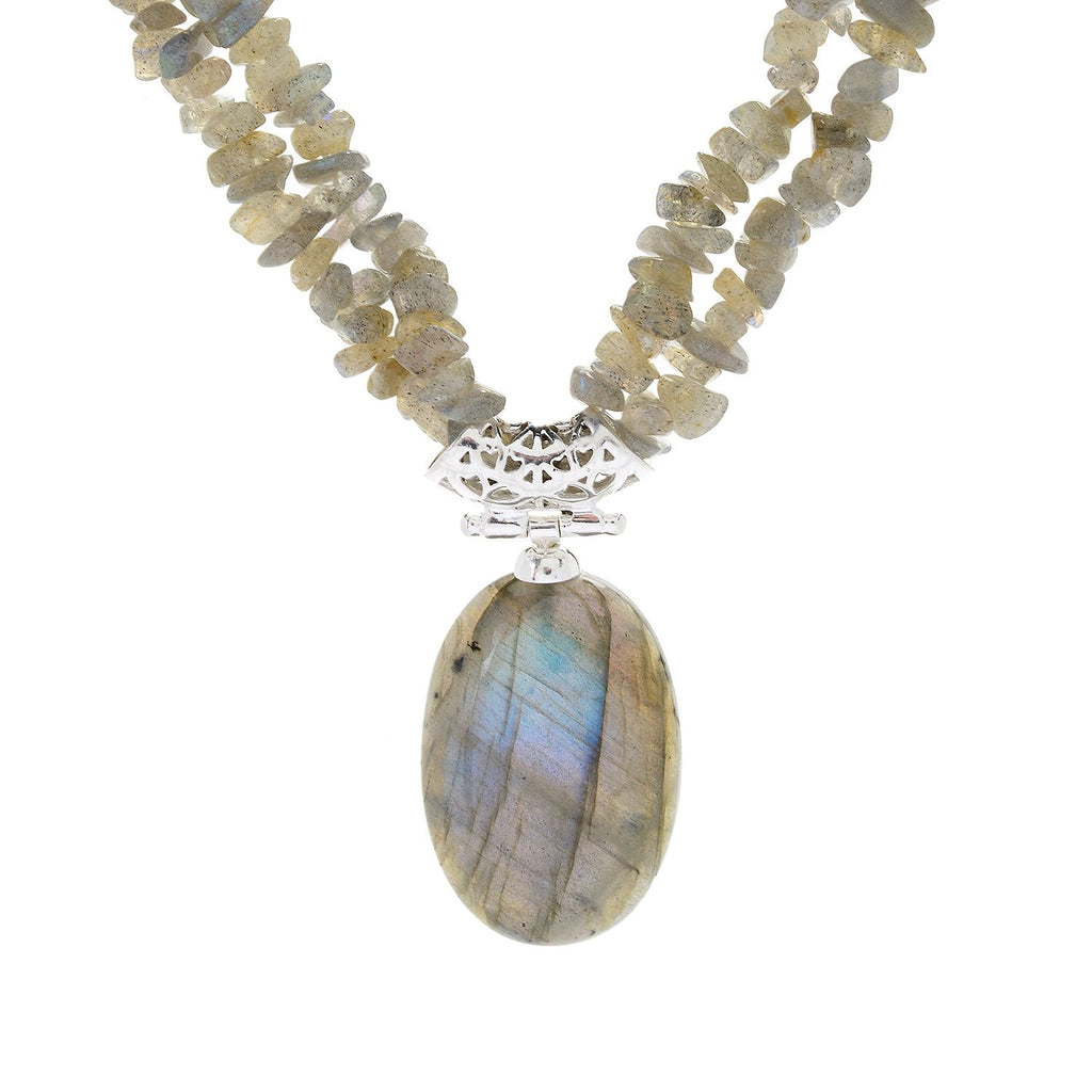 "Pinctore Sterling Silver 17.5"" 30 x 20mm Oval Labradorite 2-Strand Necklace - pinctore"