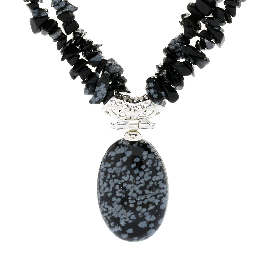 "Pinctore Sterling Silver 17.5"" 30 x 20mm Oval Snowflake Obsidian 2-Strand Necklace - pinctore"