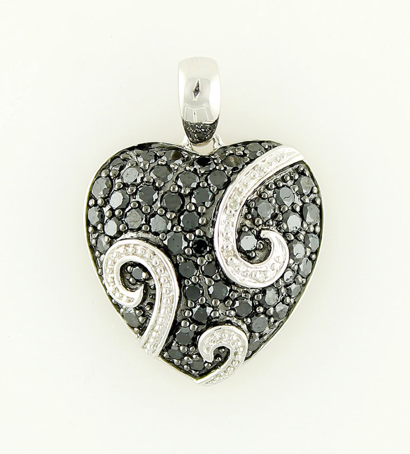 Pinctore Sterling Silver 1.79ctw Black Diamond Heart Pendant 1.06'L with 18' Chain - pinctore