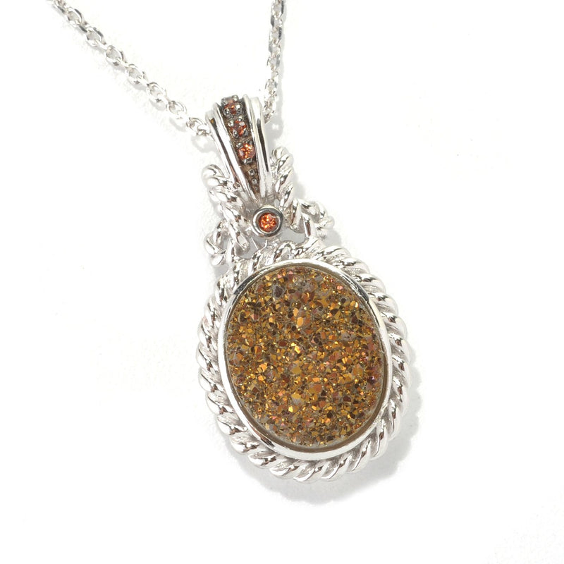 Pinctore Sterling Silver 3.41ctw Mocha Drusy & Brown Zircon Pendant 1.00'L with 18' Chain - pinctore
