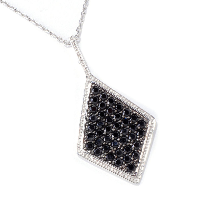 Pinctore Sterling Silver 3.4ctw Black Spinel Diamond Shaped 1.87'L Pendant with 18' Chain - pinctore
